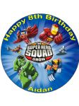 7.5 Marvel Superhero Squad Superheroes Personalised Edible Icing or Wafer Cake Top Topper
